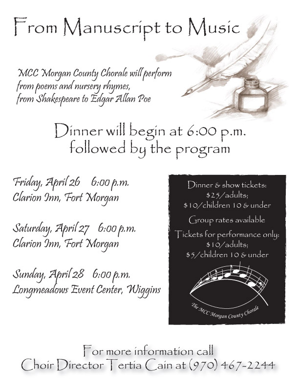 Image of flyer announcing MCC Chorale event at Longmeadow