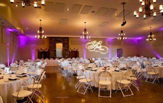 empty wedding hall with purple lighting