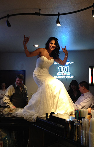 A fun photo a one of the many Brides to grace to bartop at Longmeadow - Weddings at Longmeadow