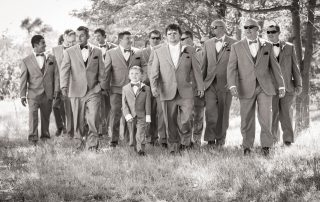 black and white photo of wedding at longmeadow event center