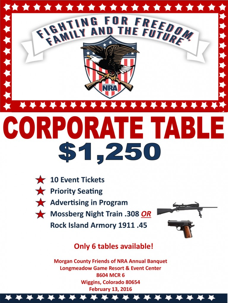 Morgan County Friends of the NRA Corporate Table