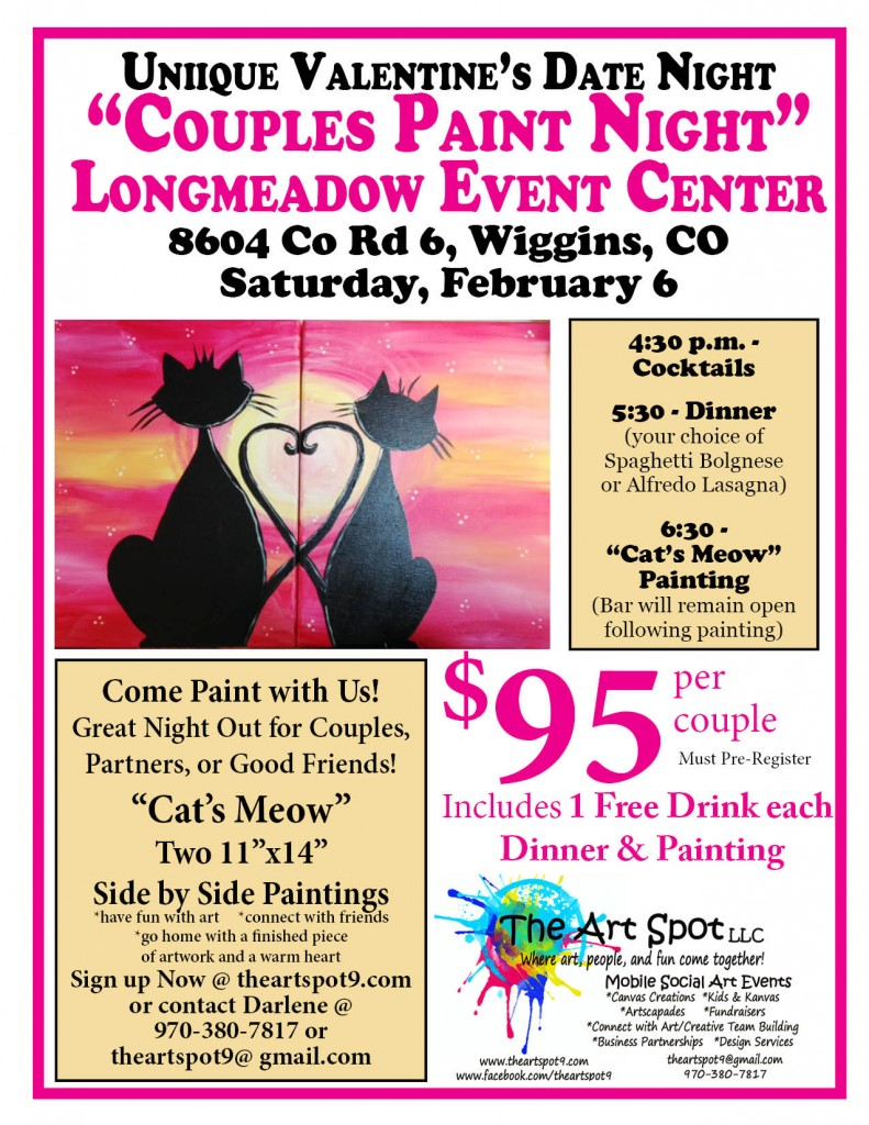 Couples paint night at Longmeadow event center in wiggins co