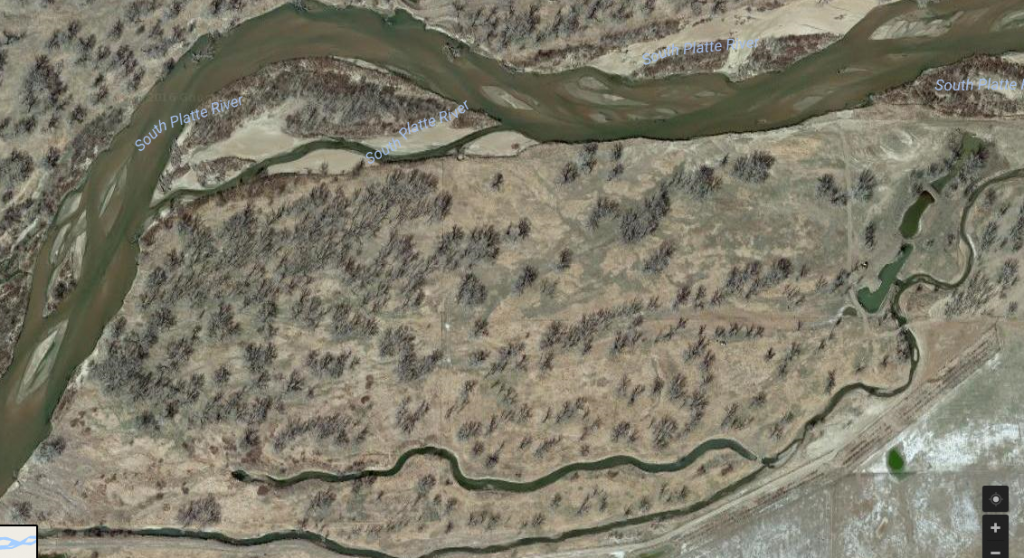 A satellite image of the new colorado duck hunting grounds at longmeadow game and event center