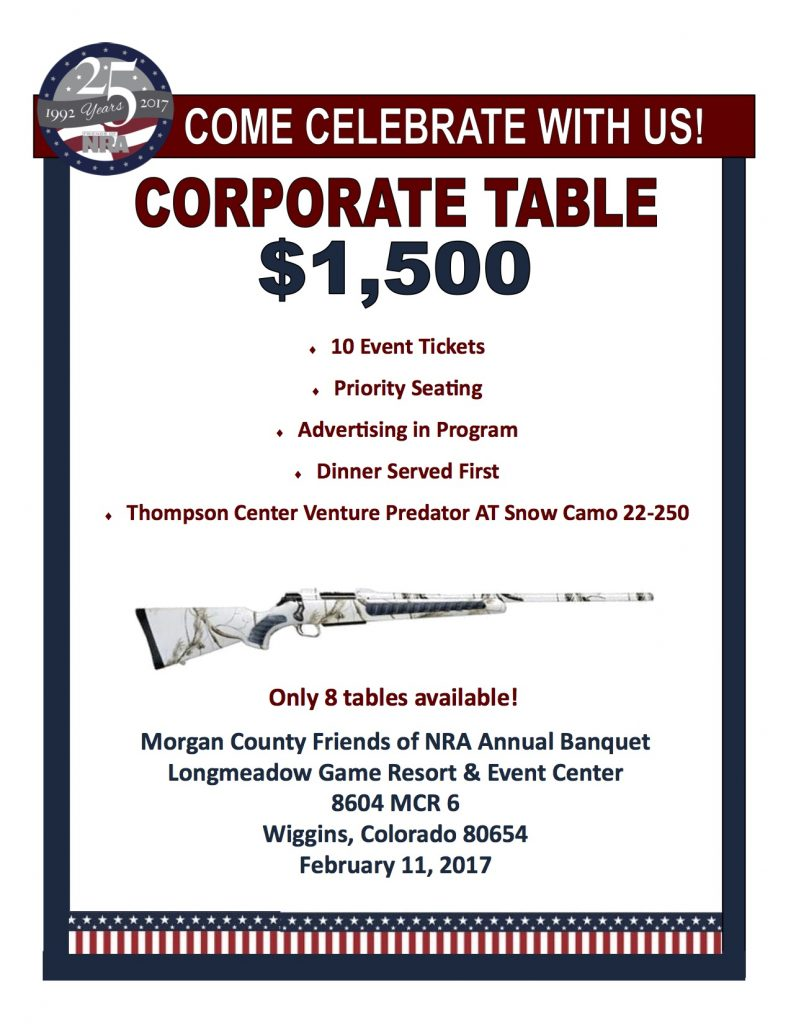 Morgan County Friends of the NRA Corporate flyer table