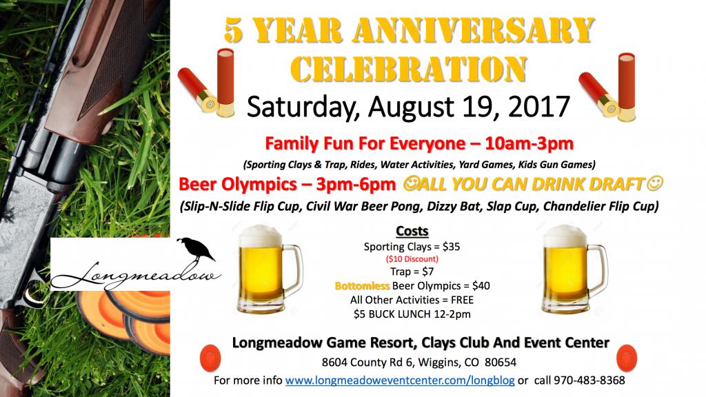 longmeadow flier describing the five year anniversary of longmeadow event center