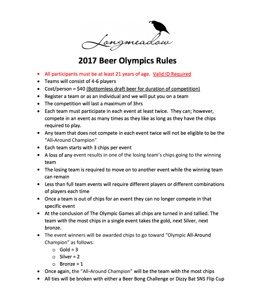 rules for the beer Olympics