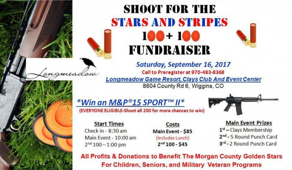Event Flyer for Morgan County Golden Stars, MCGS, Shoot for the Stars and Stripes 2017