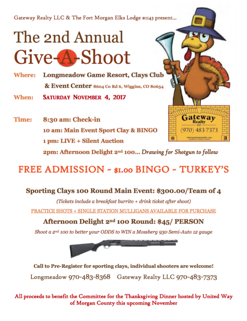Event flyer for Gateway Give-A-Shoot 2017