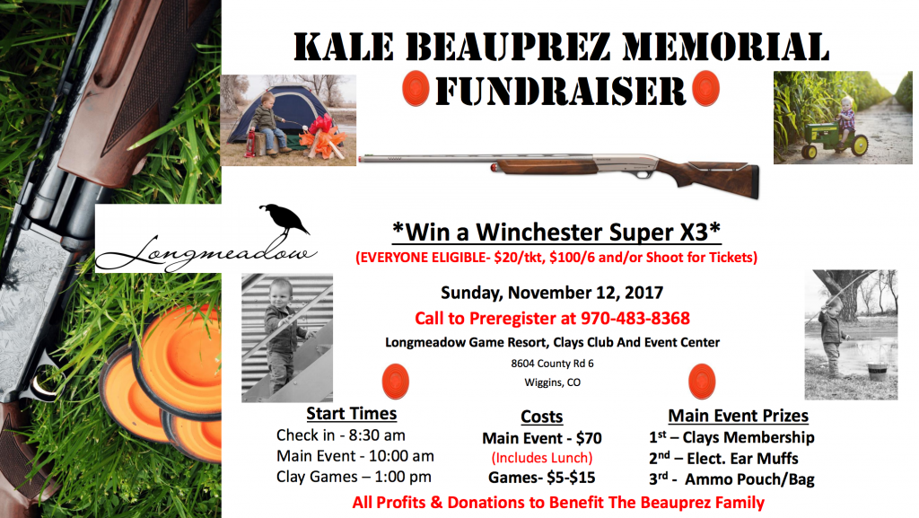 An event flyer for the Kale Beauprez Memorial Fundraiser Shoot at Longmeadow Clays Club