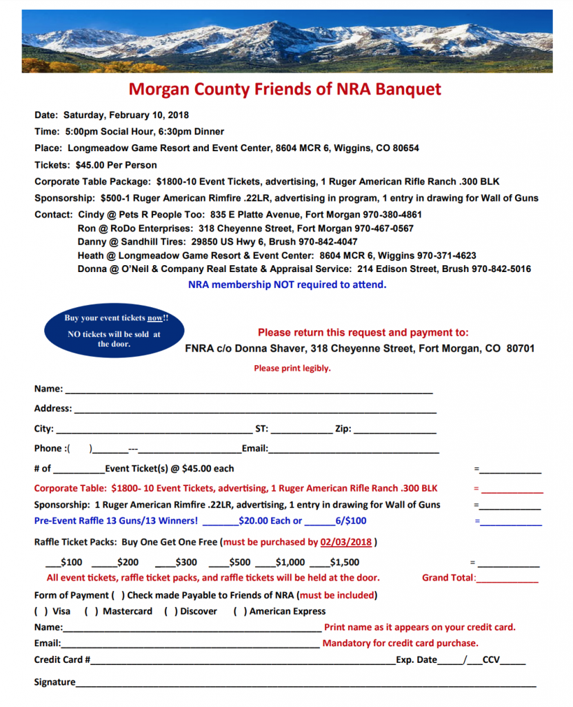 MCFNRA Ticket Order Form
