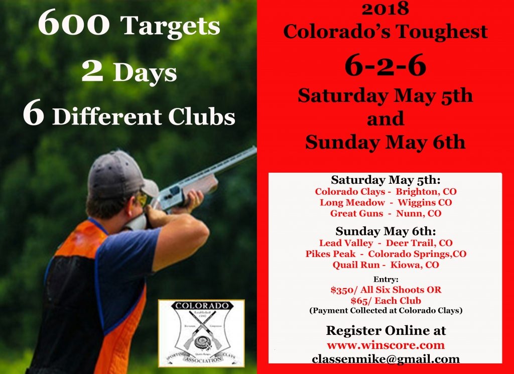 Colorado's Toughest 6-2-6 Event Flyer - Longmeadow Clays Club