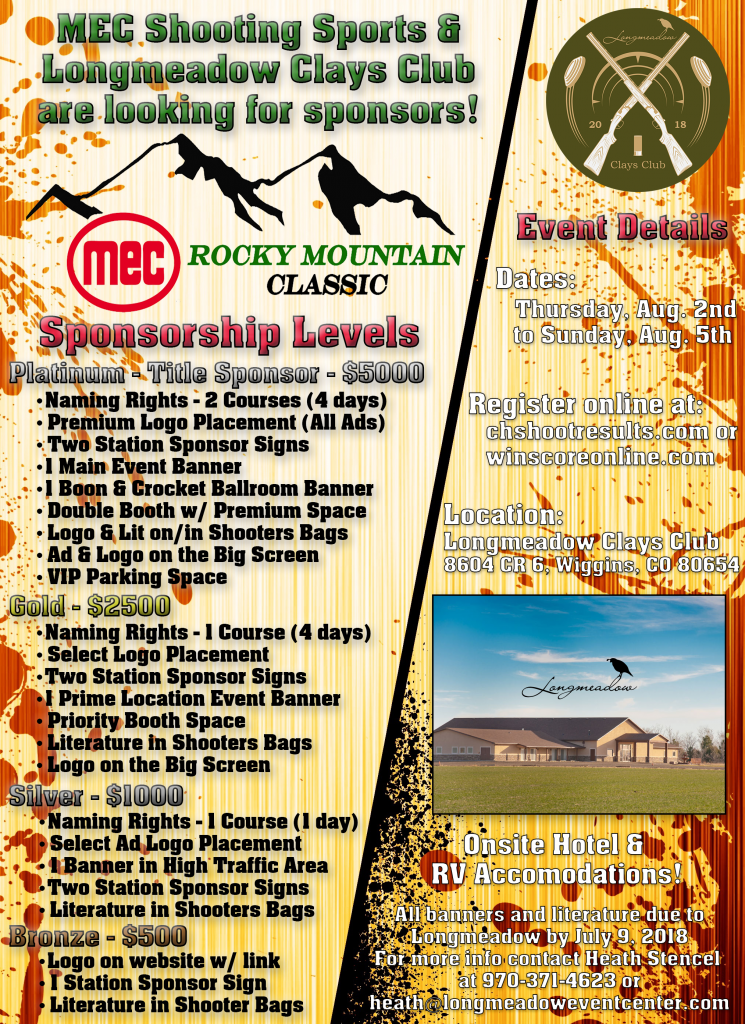 Longmeadow Clays Club - MEC Rocky Mountain Classic Sponsor Levels Flyer