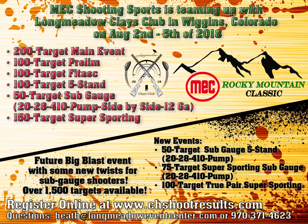 Longmeadow Clays Club - MEC Rocky Mountain Classic Shoot Details Flyer