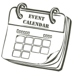 A cartoon graphic of the Clays Club Event Calendar