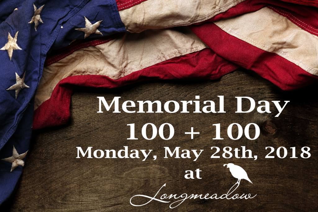 An American Flag on a wooden background - Memorial Day 100 + 100 - Longmeadow Clays Club