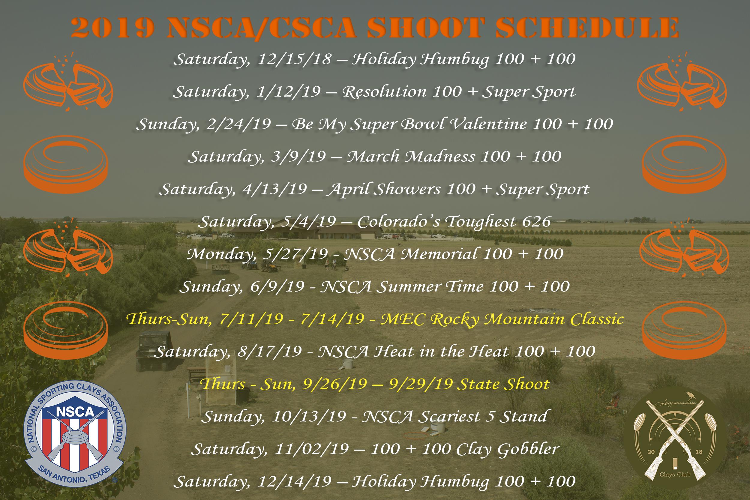 2019 NSCA Shoot Schedule