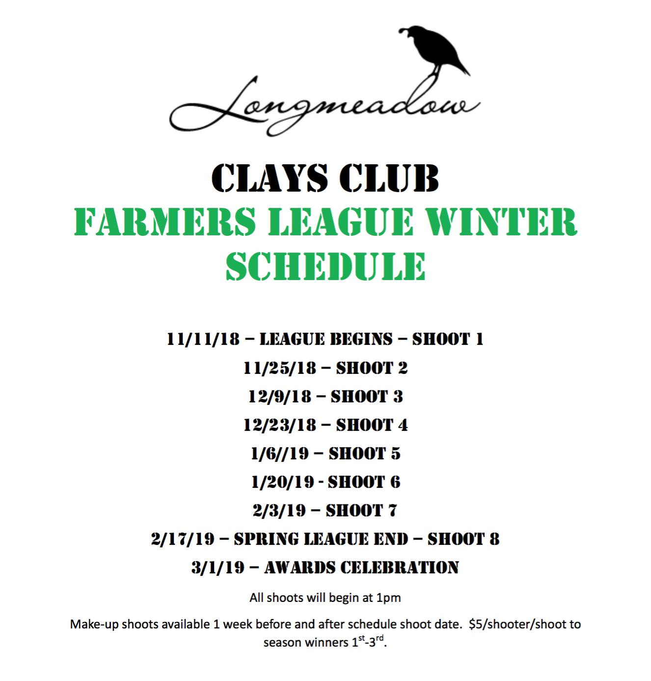 2018 Winter Farmer's League Schedule