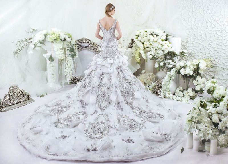 A young bride in a gorgeous wedding dress with an enormous train - Sexy Wedding Dresses 2019