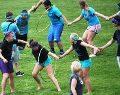 team building with hula hoops