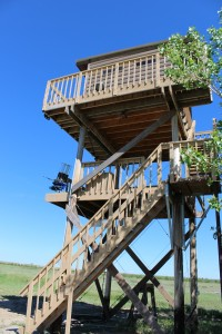 A picture of a shooting clays tower at longmeadow events center