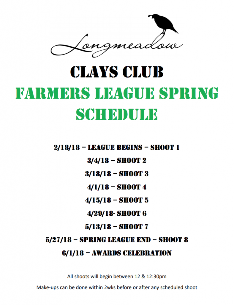 Spring Farmer's League Shoot Schedule