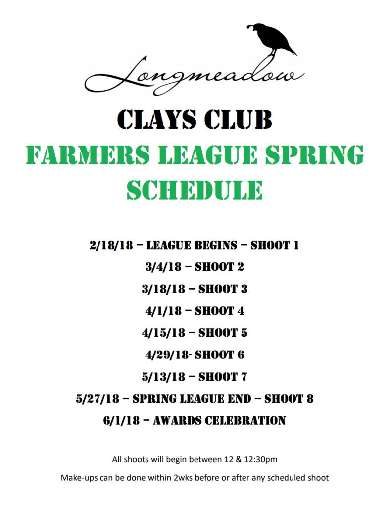 Spring Farmer's League Shoot Schedule