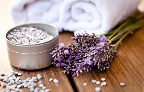 fresh lavender white towel and bath salt on wooden background wellness spa healthcare Spa Services at Longmeadow - Bachelorette Parties