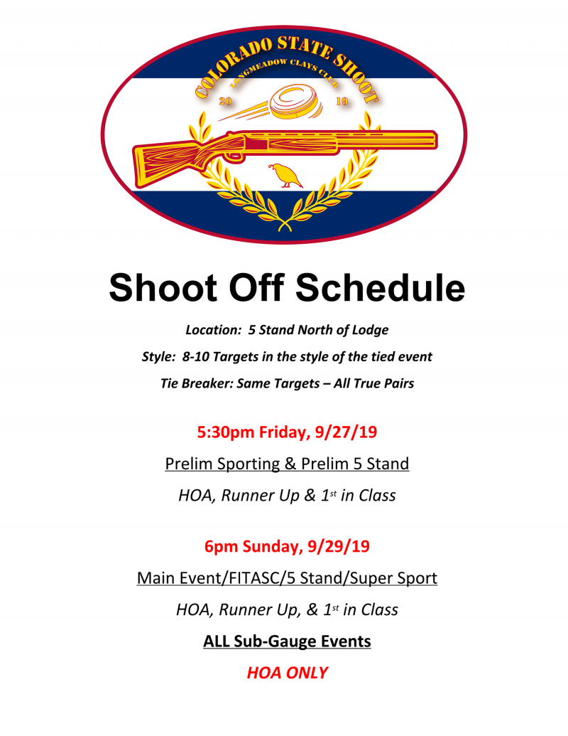 NSCA State Shoot 2019 - Shoot Off Schedule