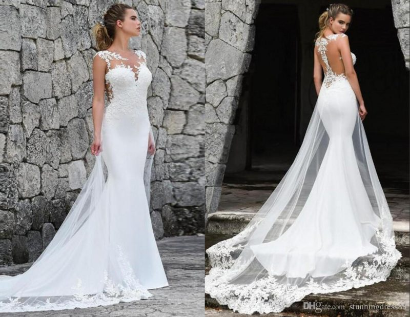 A front and back pair of images of a gorgeous bride in her wedding dress - Sexiest Wedding Dresses 2019