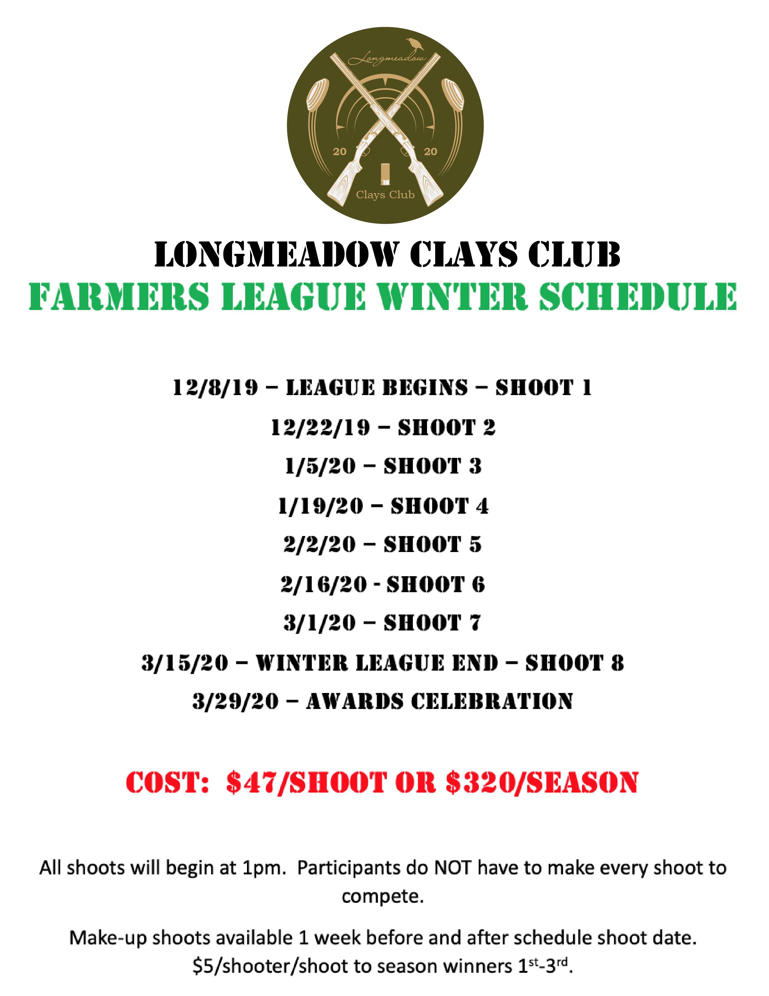 Winter Farmers League Schedule 2019/2020